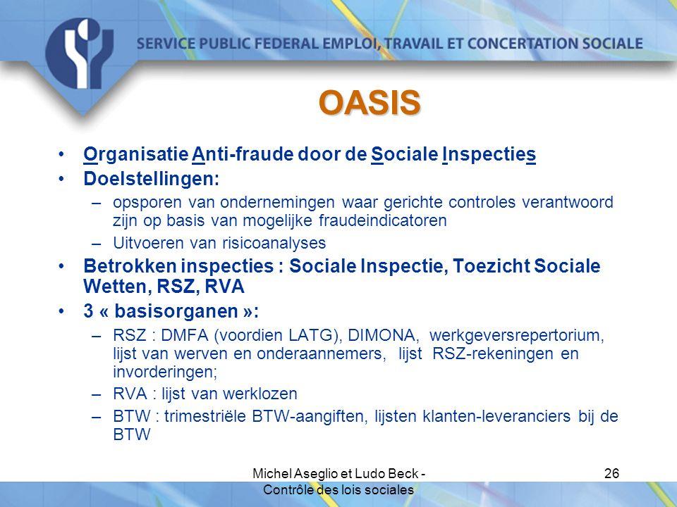 Michel Aseglio et Ludo Beck - Contrôle des lois sociales 26 OASIS Organisatie Anti-fraude door de Sociale Inspecties Doelstellingen: –opsporen van ondernemingen waar gerichte controles verantwoord zijn op basis van mogelijke fraudeindicatoren –Uitvoeren van risicoanalyses Betrokken inspecties : Sociale Inspectie, Toezicht Sociale Wetten, RSZ, RVA 3 « basisorganen »: –RSZ : DMFA (voordien LATG), DIMONA, werkgeversrepertorium, lijst van werven en onderaannemers, lijst RSZ-rekeningen en invorderingen; –RVA : lijst van werklozen –BTW : trimestriële BTW-aangiften, lijsten klanten-leveranciers bij de BTW