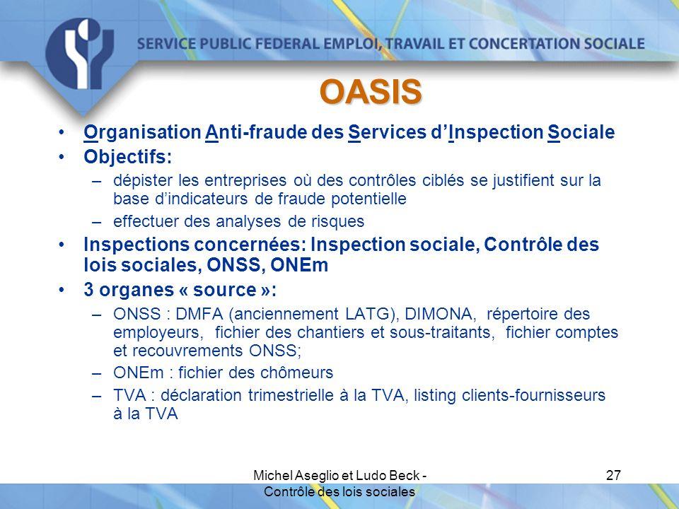 Michel Aseglio et Ludo Beck - Contrôle des lois sociales 27 OASIS Organisation Anti-fraude des Services d'Inspection Sociale Objectifs: –dépister les entreprises où des contrôles ciblés se justifient sur la base d'indicateurs de fraude potentielle –effectuer des analyses de risques Inspections concernées: Inspection sociale, Contrôle des lois sociales, ONSS, ONEm 3 organes « source »: –ONSS : DMFA (anciennement LATG), DIMONA, répertoire des employeurs, fichier des chantiers et sous-traitants, fichier comptes et recouvrements ONSS; –ONEm : fichier des chômeurs –TVA : déclaration trimestrielle à la TVA, listing clients-fournisseurs à la TVA