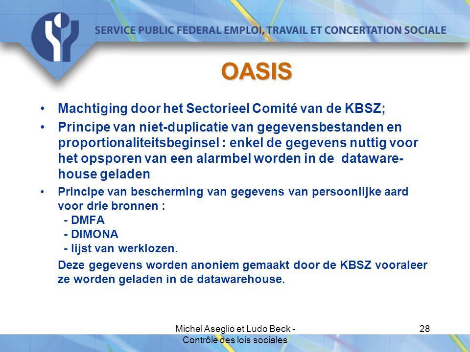 Michel Aseglio et Ludo Beck - Contrôle des lois sociales 28 OASIS Machtiging door het Sectorieel Comité van de KBSZ; Principe van niet-duplicatie van gegevensbestanden en proportionaliteitsbeginsel : enkel de gegevens nuttig voor het opsporen van een alarmbel worden in de dataware- house geladen Principe van bescherming van gegevens van persoonlijke aard voor drie bronnen : - DMFA - DIMONA - lijst van werklozen.