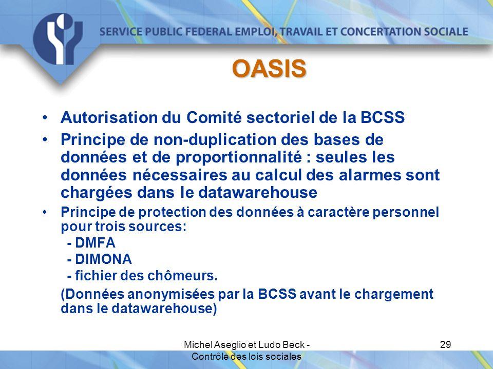 Michel Aseglio et Ludo Beck - Contrôle des lois sociales 29 OASIS Autorisation du Comité sectoriel de la BCSS Principe de non-duplication des bases de données et de proportionnalité : seules les données nécessaires au calcul des alarmes sont chargées dans le datawarehouse Principe de protection des données à caractère personnel pour trois sources: - DMFA - DIMONA - fichier des chômeurs.