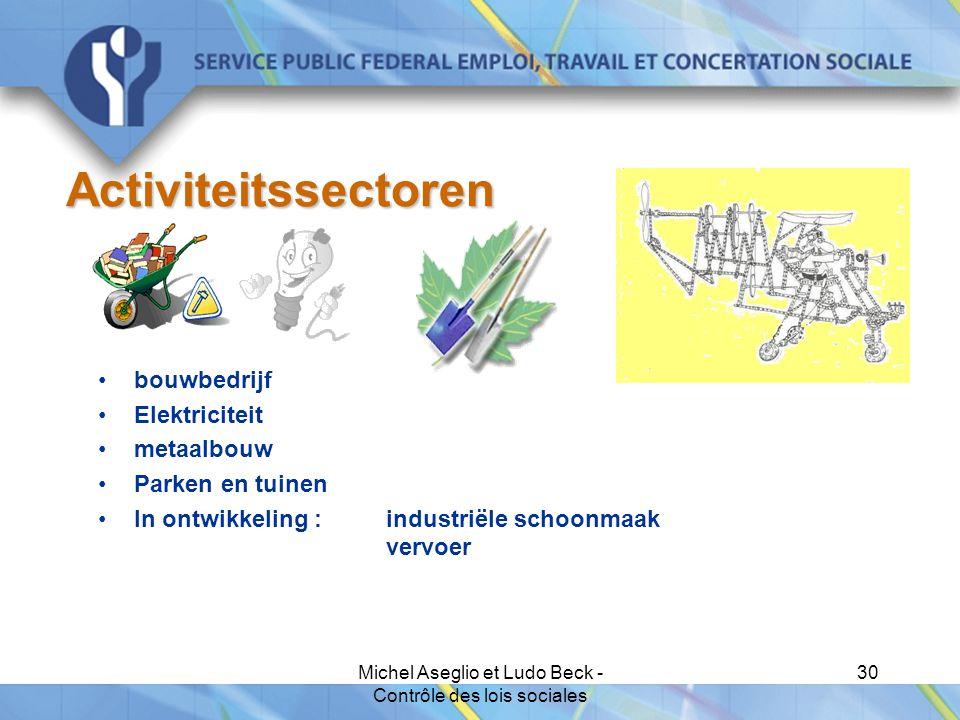 Michel Aseglio et Ludo Beck - Contrôle des lois sociales 30 Activiteitssectoren bouwbedrijf Elektriciteit metaalbouw Parken en tuinen In ontwikkeling : industriële schoonmaak vervoer