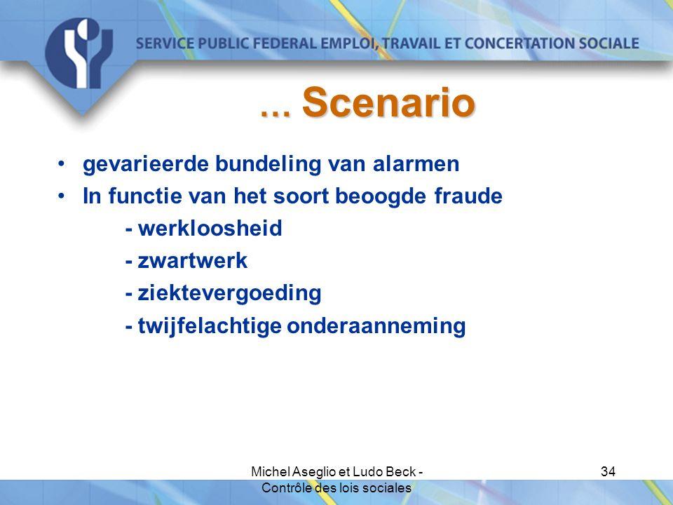 Michel Aseglio et Ludo Beck - Contrôle des lois sociales 34 … Scenario gevarieerde bundeling van alarmen In functie van het soort beoogde fraude - werkloosheid - zwartwerk - ziektevergoeding - twijfelachtige onderaanneming