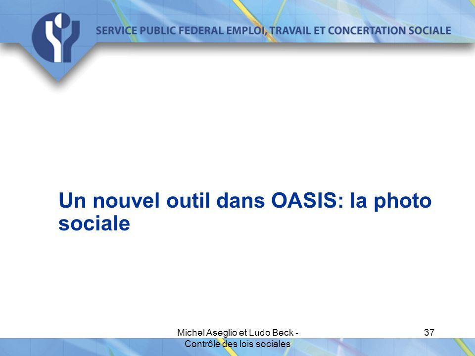Michel Aseglio et Ludo Beck - Contrôle des lois sociales 37 Un nouvel outil dans OASIS: la photo sociale