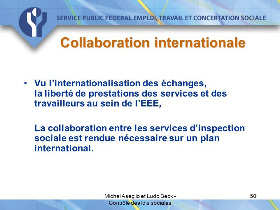 Michel Aseglio et Ludo Beck - Contrôle des lois sociales 50 Collaboration internationale Vu l'internationalisation des échanges, la liberté de prestations des services et des travailleurs au sein de l'EEE, La collaboration entre les services d'inspection sociale est rendue nécessaire sur un plan international.