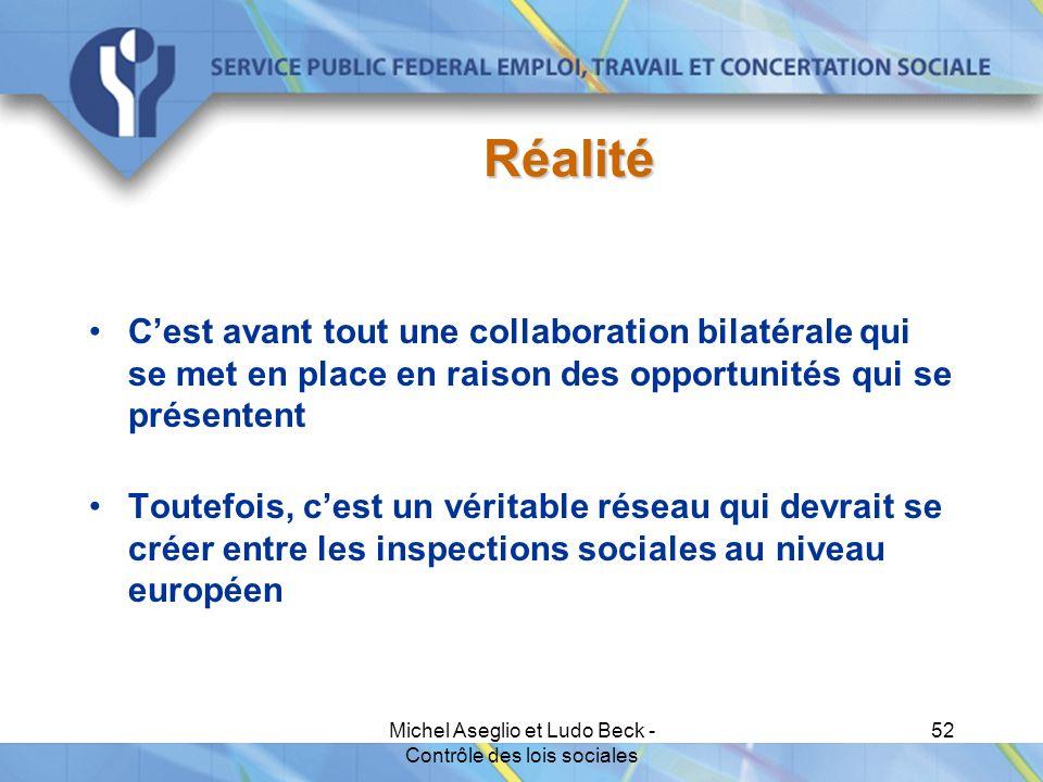 Michel Aseglio et Ludo Beck - Contrôle des lois sociales 52 Réalité C'est avant tout une collaboration bilatérale qui se met en place en raison des opportunités qui se présentent Toutefois, c'est un véritable réseau qui devrait se créer entre les inspections sociales au niveau européen