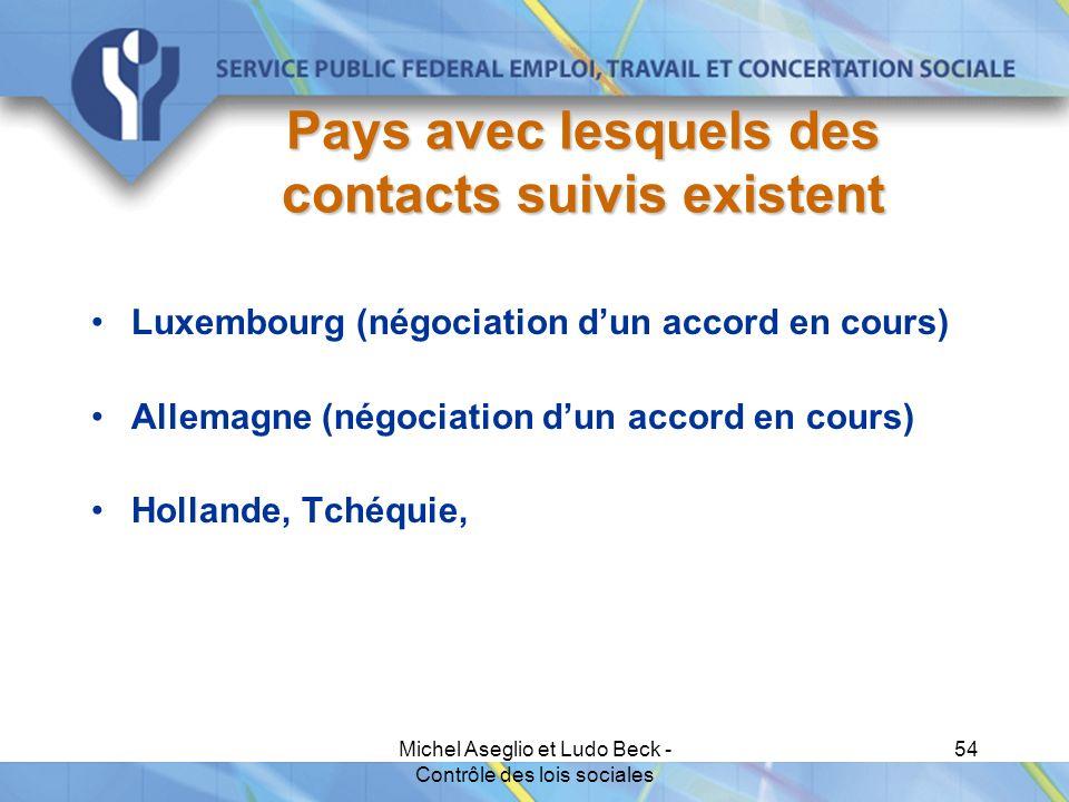 Michel Aseglio et Ludo Beck - Contrôle des lois sociales 54 Pays avec lesquels des contacts suivis existent Luxembourg (négociation d'un accord en cours) Allemagne (négociation d'un accord en cours) Hollande, Tchéquie,