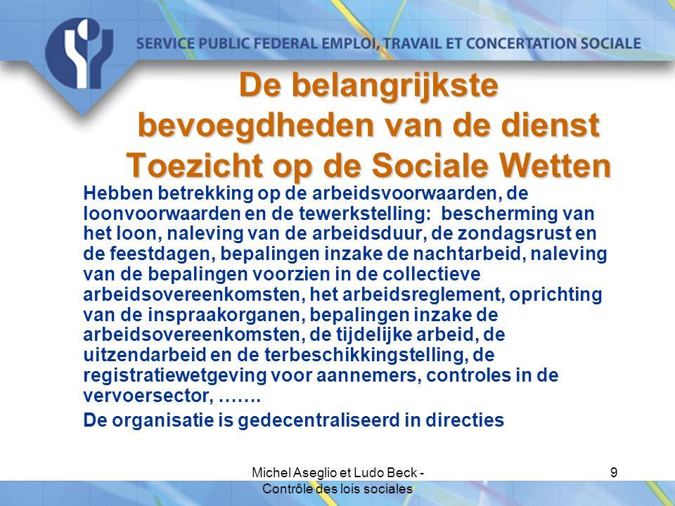 Michel Aseglio et Ludo Beck - Contrôle des lois sociales 9 De belangrijkste bevoegdheden van de dienst Toezicht op de Sociale Wetten Hebben betrekking op de arbeidsvoorwaarden, de loonvoorwaarden en de tewerkstelling: bescherming van het loon, naleving van de arbeidsduur, de zondagsrust en de feestdagen, bepalingen inzake de nachtarbeid, naleving van de bepalingen voorzien in de collectieve arbeidsovereenkomsten, het arbeidsreglement, oprichting van de inspraakorganen, bepalingen inzake de arbeidsovereenkomsten, de tijdelijke arbeid, de uitzendarbeid en de terbeschikkingstelling, de registratiewetgeving voor aannemers, controles in de vervoersector, …….