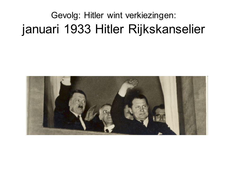 Gevolg: Hitler wint verkiezingen: januari 1933 Hitler Rijkskanselier