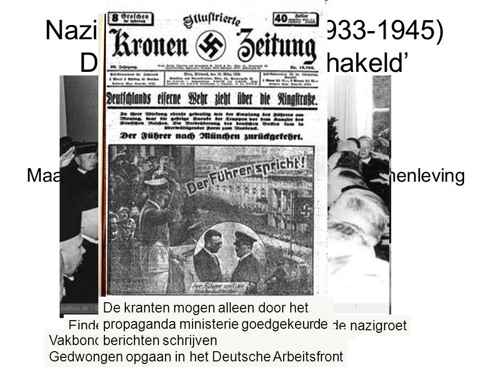 Maatschappij 'gelijkgeschakeld' (= hele samenleving wordt nazistisch gemaakt), o.a: onderwijs cultuur media rechtspraak vakbonden Nazi's aan de macht (1933-1945) Duitsland 'gelijkgeschakeld' Onderwijs wordt 'genazificeerd' 10 mei 1933: verbranding van door de Nazistische Kultuurkamer verboden boeken Duitse geestelijken brengen de Nazi-groet Einde van de rechtsstaat: rechters brengen de nazigroet Enige toegestane jeugdbeweging Is de Hitlerjugend Vakbonden en werkgeversorganisaties moeten Gedwongen opgaan in het Deutsche Arbeitsfront De kranten mogen alleen door het propaganda ministerie goedgekeurde berichten schrijven