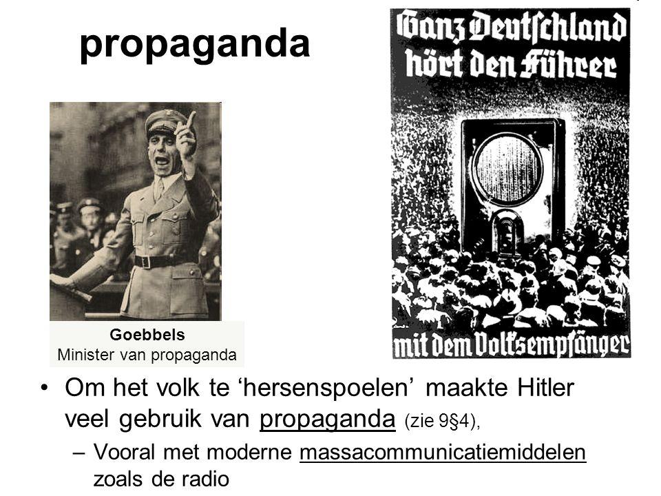 propaganda Om het volk te 'hersenspoelen' maakte Hitler veel gebruik van propaganda (zie 9§4), –Vooral met moderne massacommunicatiemiddelen zoals de radio Goebbels Minister van propaganda