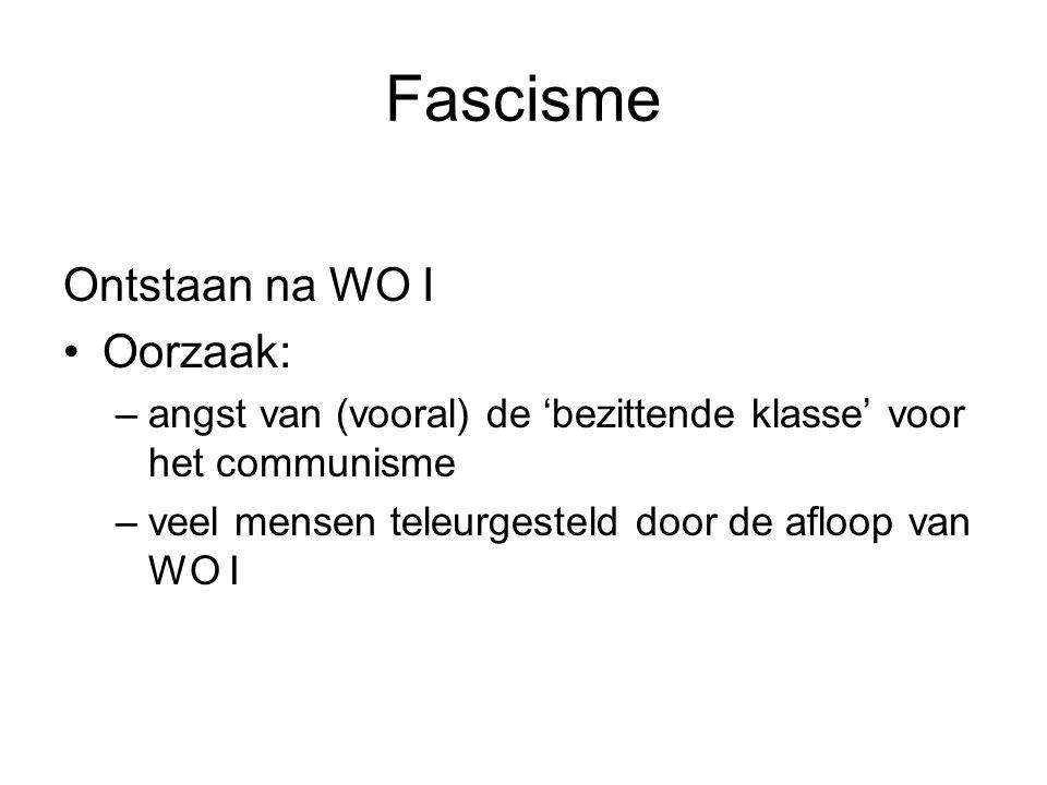 Fascisme Ontstaan na WO I Oorzaak: –angst van (vooral) de 'bezittende klasse' voor het communisme –veel mensen teleurgesteld door de afloop van WO I