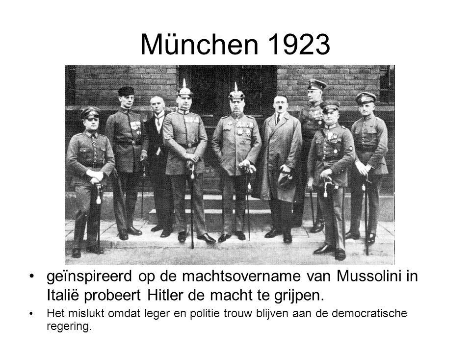 München 1923 geïnspireerd op de machtsovername van Mussolini in Italië probeert Hitler de macht te grijpen.