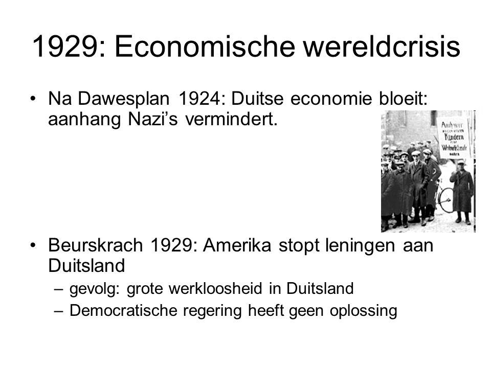 1929: Economische wereldcrisis Na Dawesplan 1924: Duitse economie bloeit: aanhang Nazi's vermindert.