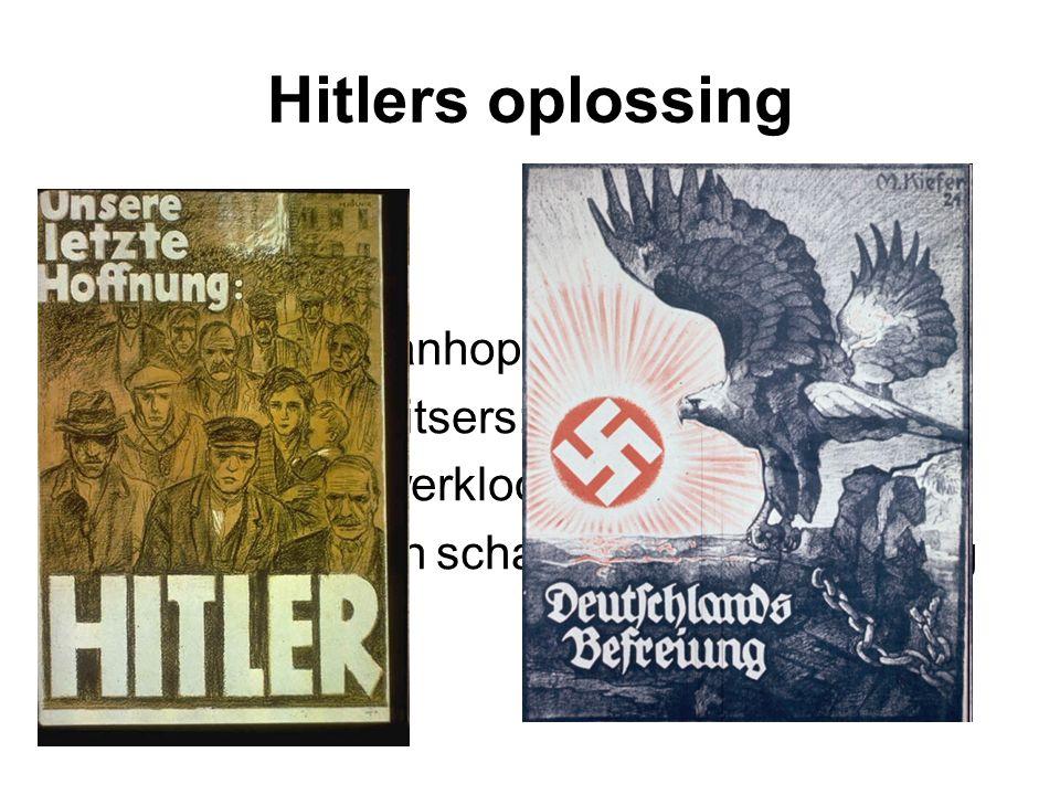 Hitlers oplossing Veel Duitsers wanhopig Hitler belooft Duitsers: 1) einde aan werkloosheid 2) terugdraaien schandalig vredesverdrag van Versailles