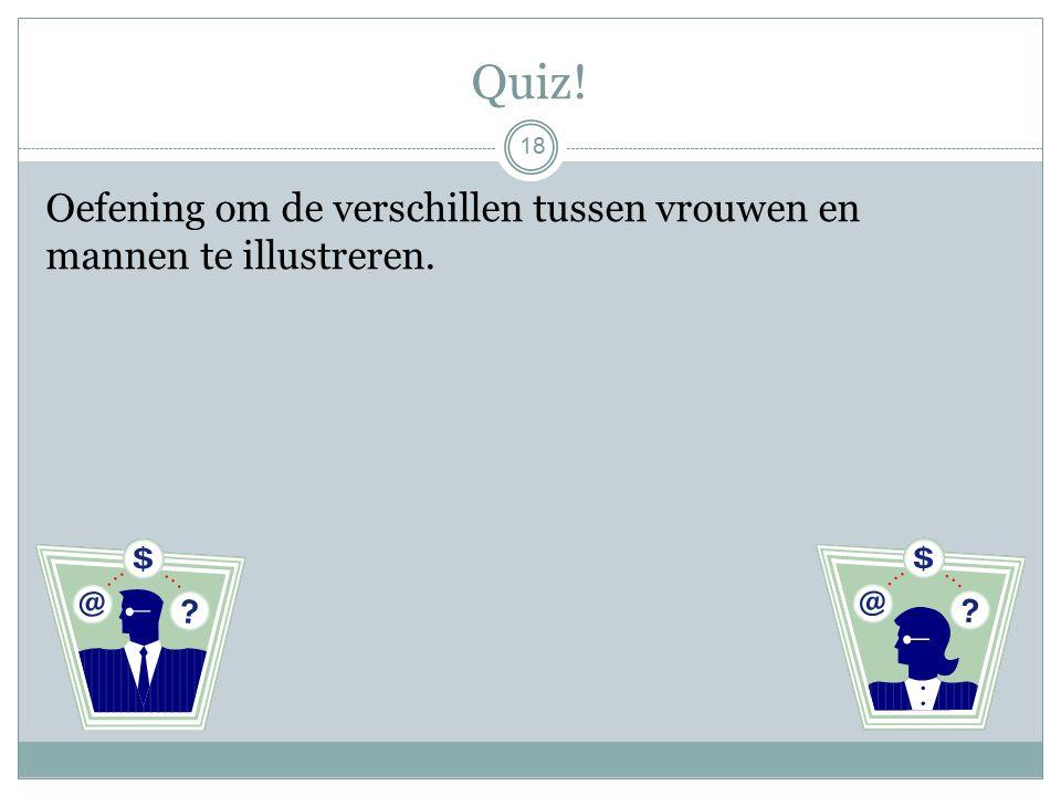 Quiz! Oefening om de verschillen tussen vrouwen en mannen te illustreren. 18