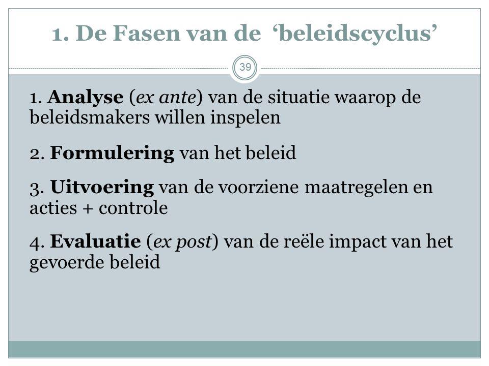 1. De Fasen van de 'beleidscyclus' 1.