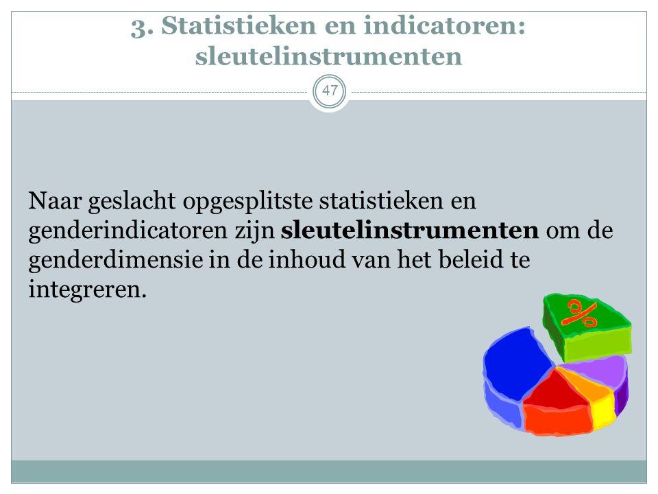 3. Statistieken en indicatoren: sleutelinstrumenten Naar geslacht opgesplitste statistieken en genderindicatoren zijn sleutelinstrumenten om de gender