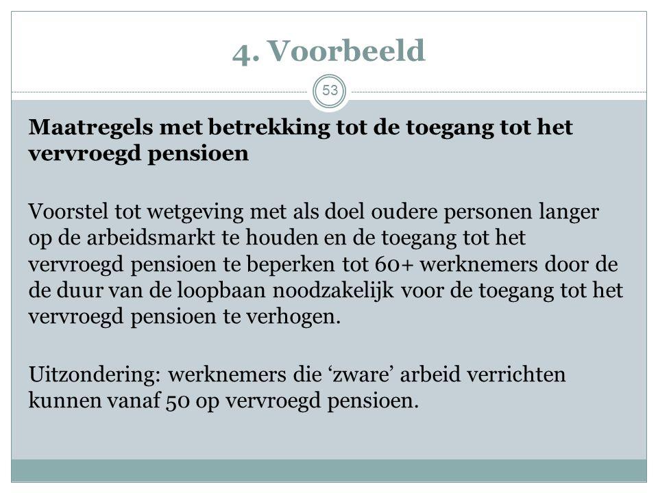4. Voorbeeld Maatregels met betrekking tot de toegang tot het vervroegd pensioen Voorstel tot wetgeving met als doel oudere personen langer op de arbe