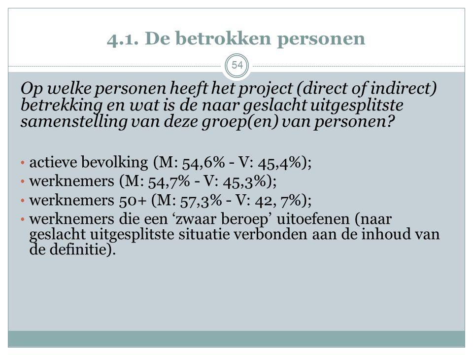 4.1. De betrokken personen Op welke personen heeft het project (direct of indirect) betrekking en wat is de naar geslacht uitgesplitste samenstelling