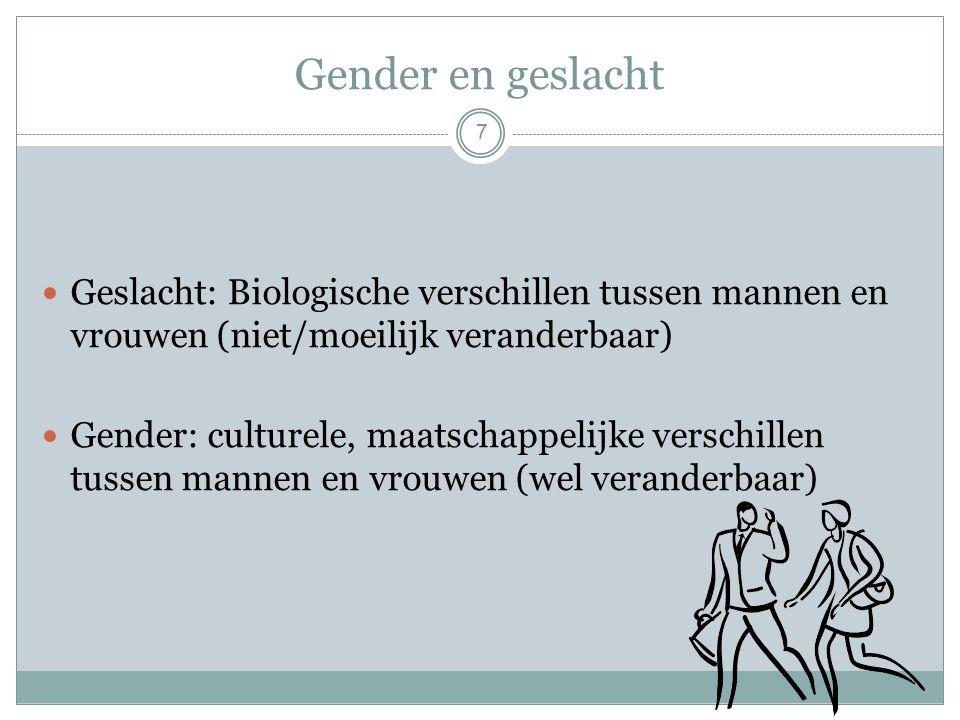 Gender en geslacht Geslacht: Biologische verschillen tussen mannen en vrouwen (niet/moeilijk veranderbaar) Gender: culturele, maatschappelijke verschillen tussen mannen en vrouwen (wel veranderbaar) 7