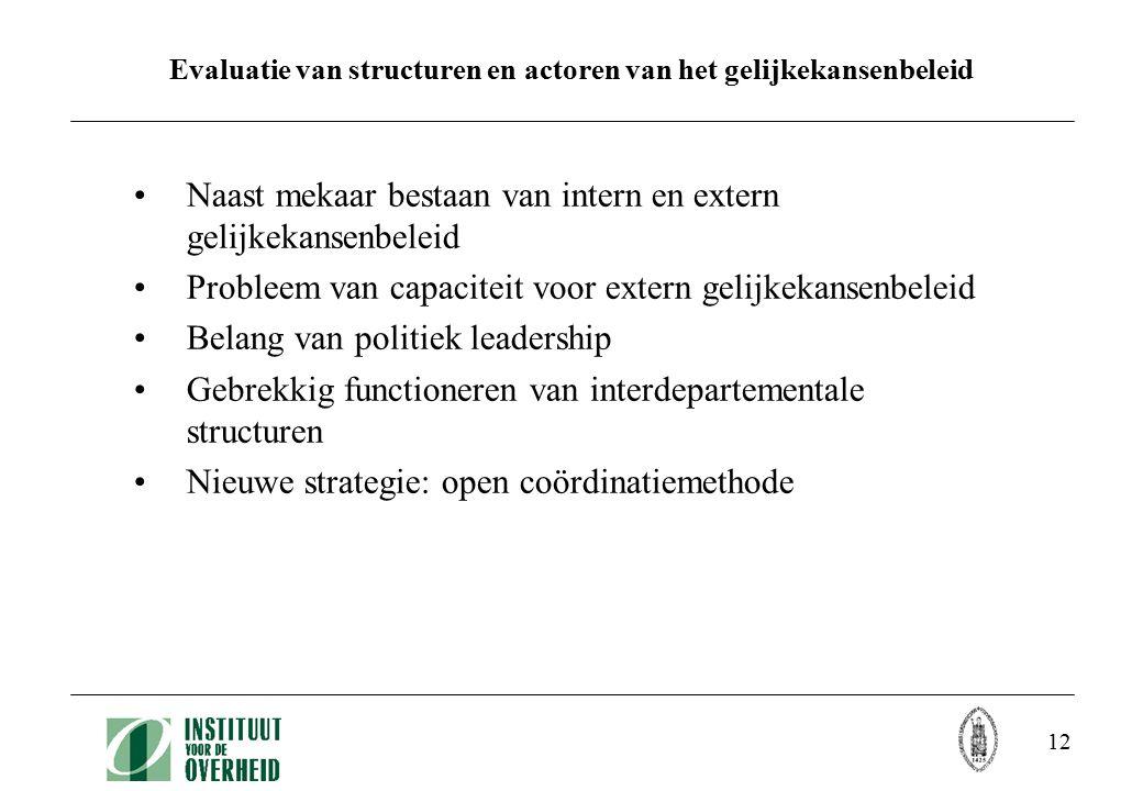 12 Evaluatie van structuren en actoren van het gelijkekansenbeleid Naast mekaar bestaan van intern en extern gelijkekansenbeleid Probleem van capacite