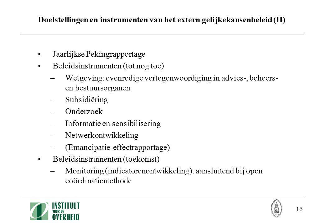 16 Doelstellingen en instrumenten van het extern gelijkekansenbeleid (II) Jaarlijkse Pekingrapportage Beleidsinstrumenten (tot nog toe) –Wetgeving: evenredige vertegenwoordiging in advies-, beheers- en bestuursorganen –Subsidiëring –Onderzoek –Informatie en sensibilisering –Netwerkontwikkeling –(Emancipatie-effectrapportage) Beleidsinstrumenten (toekomst) –Monitoring (indicatorenontwikkeling): aansluitend bij open coördinatiemethode