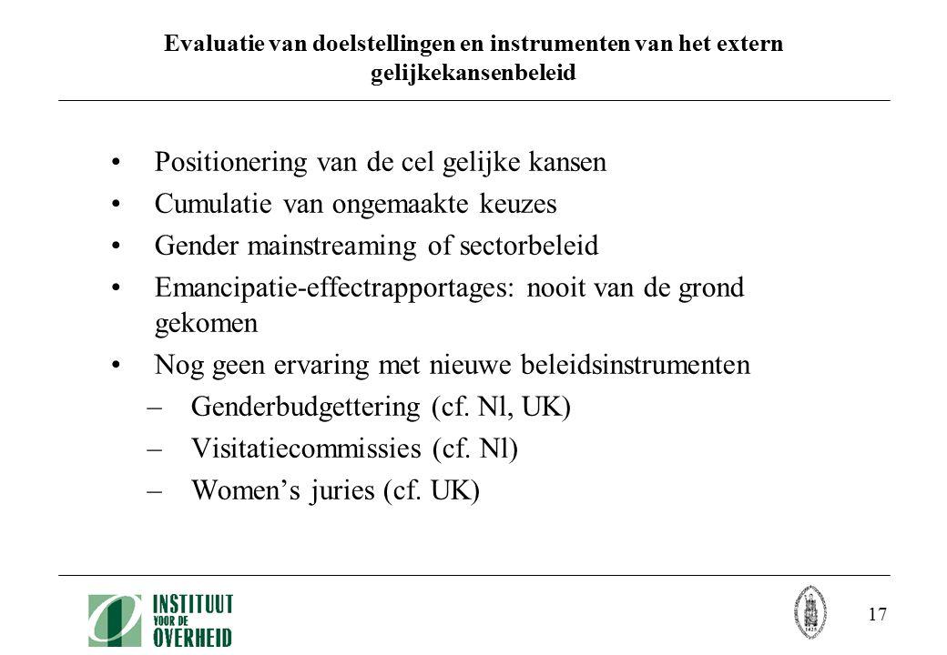 17 Evaluatie van doelstellingen en instrumenten van het extern gelijkekansenbeleid Positionering van de cel gelijke kansen Cumulatie van ongemaakte ke