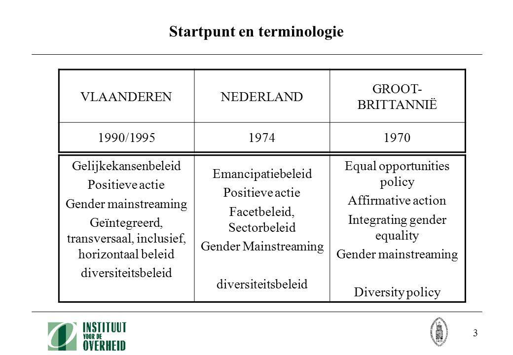3 Startpunt en terminologie VLAANDERENNEDERLAND GROOT- BRITTANNIË 1990/199519741970 Gelijkekansenbeleid Positieve actie Gender mainstreaming Geïntegre