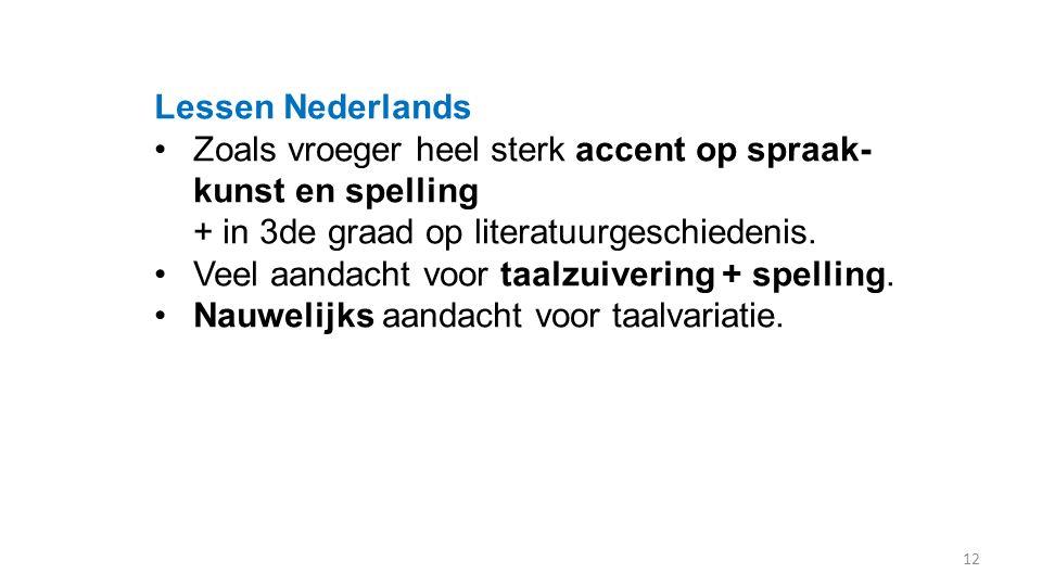 Lessen Nederlands Zoals vroeger heel sterk accent op spraak- kunst en spelling + in 3de graad op literatuurgeschiedenis. Veel aandacht voor taalzuiver