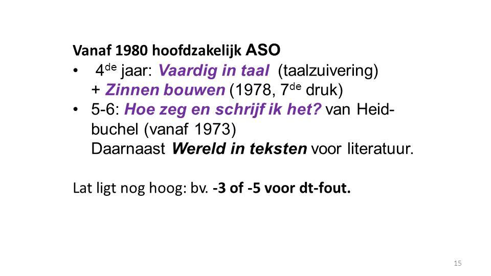 Vanaf 1980 hoofdzakelijk ASO 4 de jaar: Vaardig in taal (taalzuivering) + Zinnen bouwen (1978, 7 de druk) 5-6: Hoe zeg en schrijf ik het? van Heid- bu