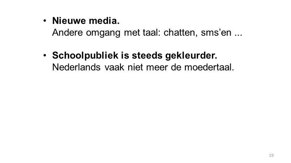 19 Nieuwe media. Andere omgang met taal: chatten, sms'en... Schoolpubliek is steeds gekleurder. Nederlands vaak niet meer de moedertaal.