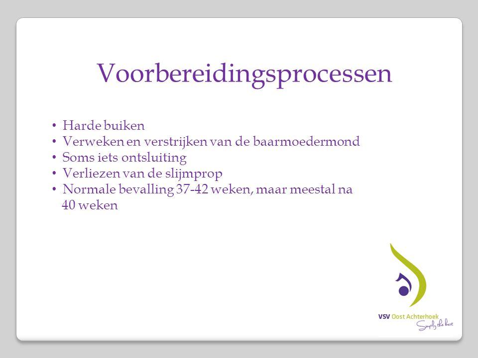 Voorbereidingsprocessen Harde buiken Verweken en verstrijken van de baarmoedermond Soms iets ontsluiting Verliezen van de slijmprop Normale bevalling