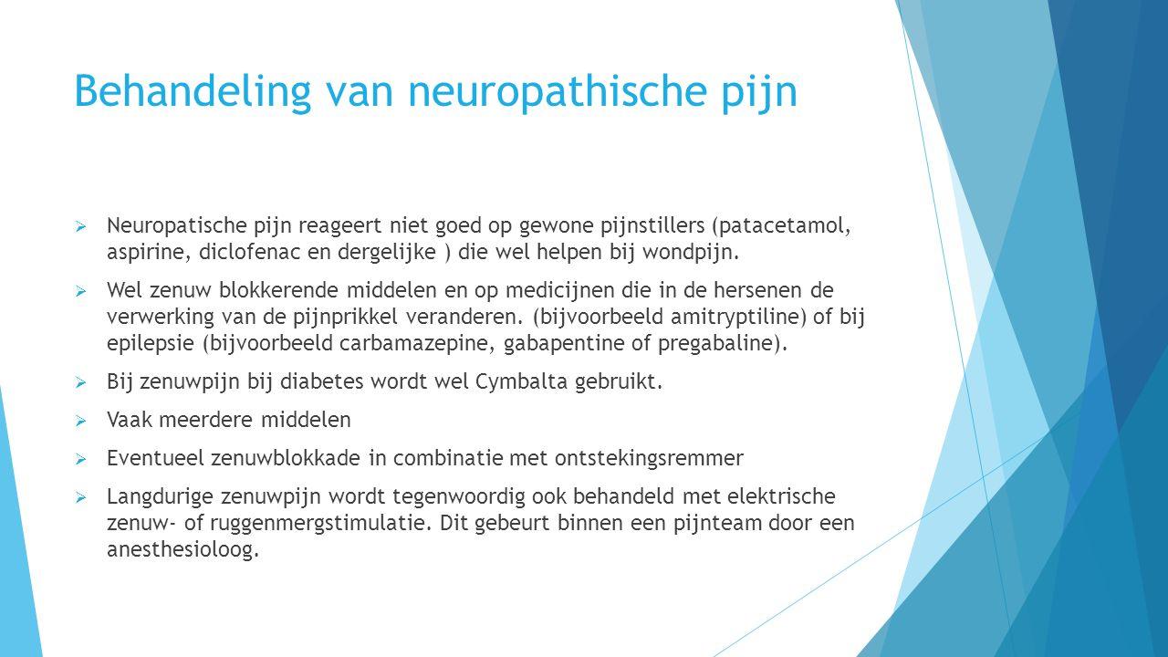Behandeling van neuropathische pijn  Neuropatische pijn reageert niet goed op gewone pijnstillers (patacetamol, aspirine, diclofenac en dergelijke ) die wel helpen bij wondpijn.