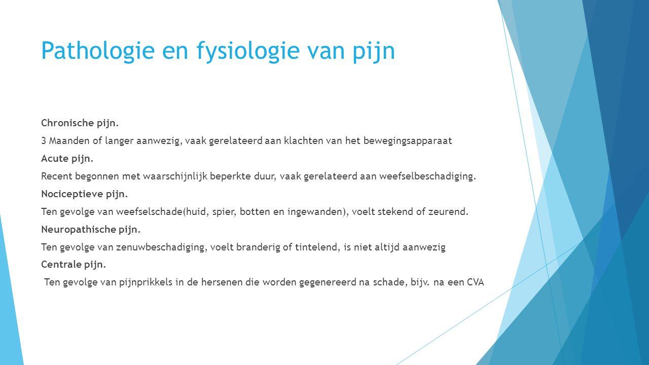 Pathologie en fysiologie van pijn Chronische pijn.