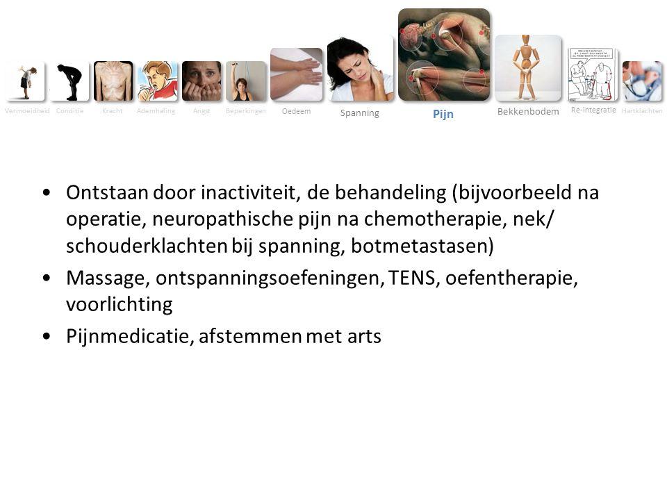 Vermoeidheid ConditieKracht AdemhalingAngst Beperkingen Oedeem Spanning Pijn Bekkenbodem Re-integratie Hartklachten Ontstaan door inactiviteit, de behandeling (bijvoorbeeld na operatie, neuropathische pijn na chemotherapie, nek/ schouderklachten bij spanning, botmetastasen) Massage, ontspanningsoefeningen, TENS, oefentherapie, voorlichting Pijnmedicatie, afstemmen met arts