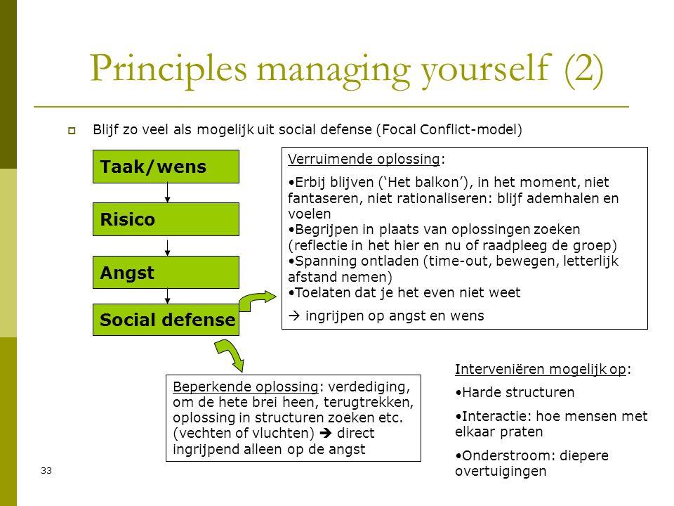 33 Principles managing yourself (2)  Blijf zo veel als mogelijk uit social defense (Focal Conflict-model) Taak/wens Risico Angst Social defense Beperkende oplossing: verdediging, om de hete brei heen, terugtrekken, oplossing in structuren zoeken etc.