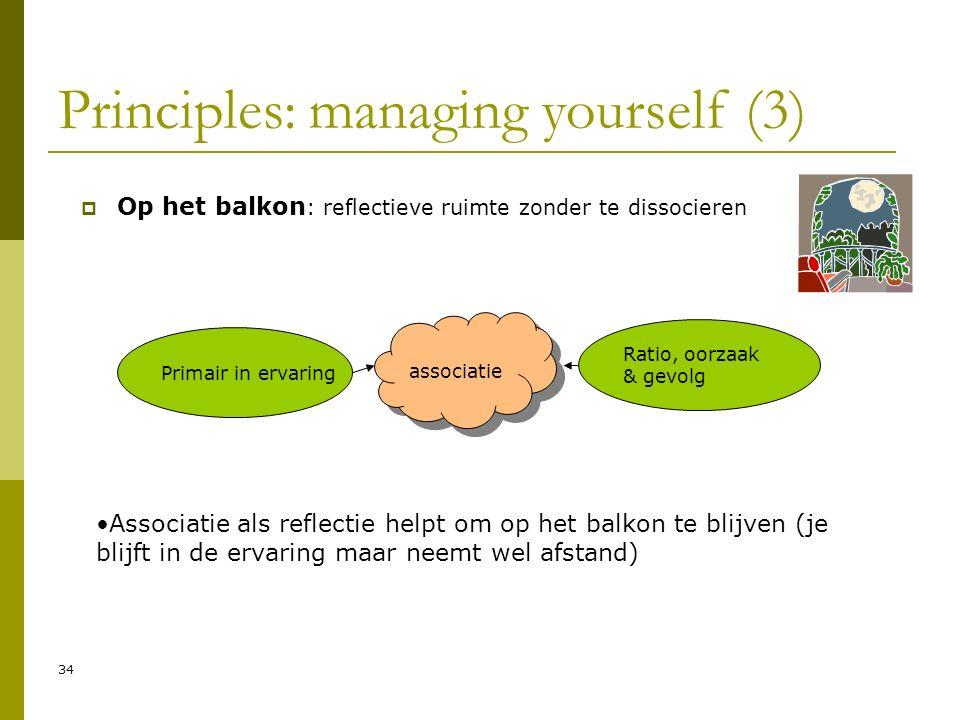 34 Principles: managing yourself (3)  Op het balkon : reflectieve ruimte zonder te dissocieren Primair in ervaring Ratio, oorzaak & gevolg associatie Associatie als reflectie helpt om op het balkon te blijven (je blijft in de ervaring maar neemt wel afstand)
