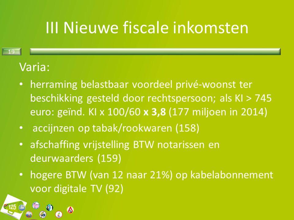 19 III Nieuwe fiscale inkomsten Varia: herraming belastbaar voordeel privé-woonst ter beschikking gesteld door rechtspersoon; als KI > 745 euro: geïnd.