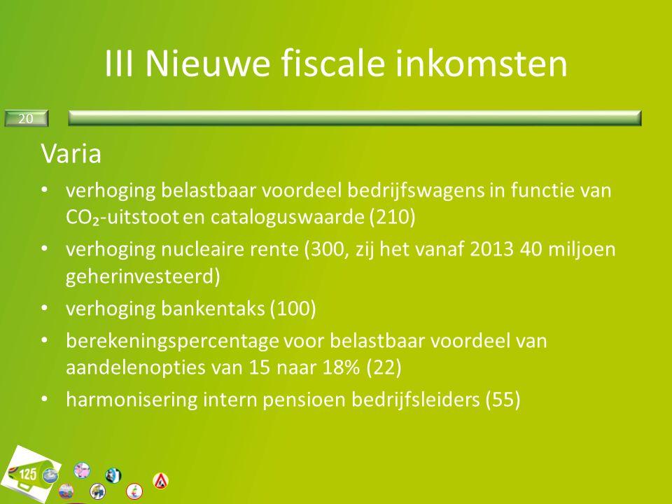 20 Varia verhoging belastbaar voordeel bedrijfswagens in functie van CO₂-uitstoot en cataloguswaarde (210) verhoging nucleaire rente (300, zij het vanaf 2013 40 miljoen geherinvesteerd) verhoging bankentaks (100) berekeningspercentage voor belastbaar voordeel van aandelenopties van 15 naar 18% (22) harmonisering intern pensioen bedrijfsleiders (55) III Nieuwe fiscale inkomsten
