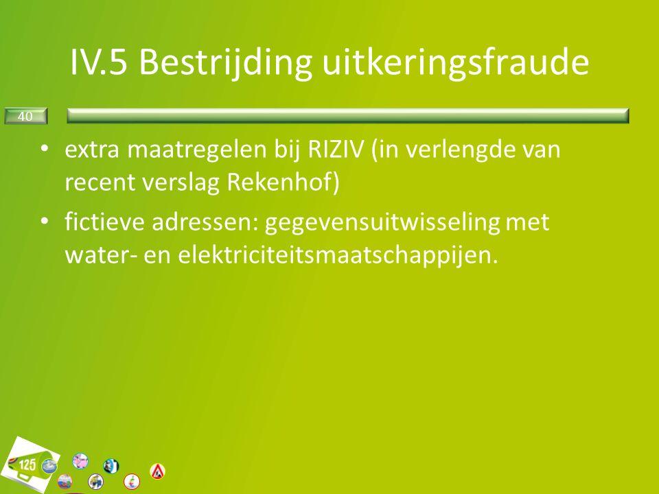 40 extra maatregelen bij RIZIV (in verlengde van recent verslag Rekenhof) fictieve adressen: gegevensuitwisseling met water- en elektriciteitsmaatschappijen.