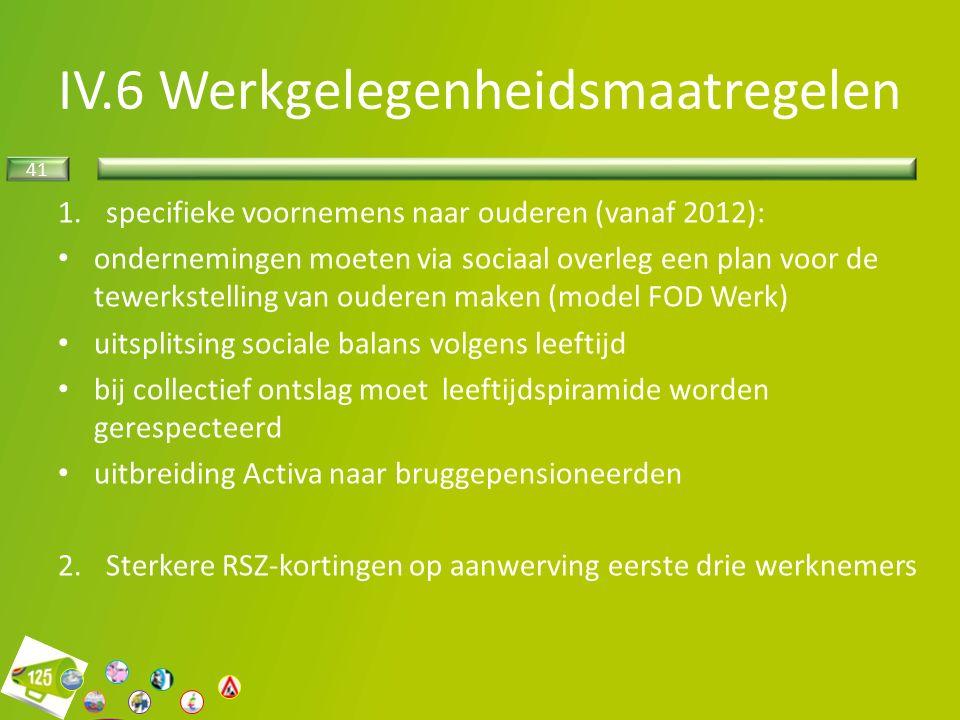 41 1.specifieke voornemens naar ouderen (vanaf 2012): ondernemingen moeten via sociaal overleg een plan voor de tewerkstelling van ouderen maken (model FOD Werk) uitsplitsing sociale balans volgens leeftijd bij collectief ontslag moet leeftijdspiramide worden gerespecteerd uitbreiding Activa naar bruggepensioneerden 2.Sterkere RSZ-kortingen op aanwerving eerste drie werknemers IV.6 Werkgelegenheidsmaatregelen
