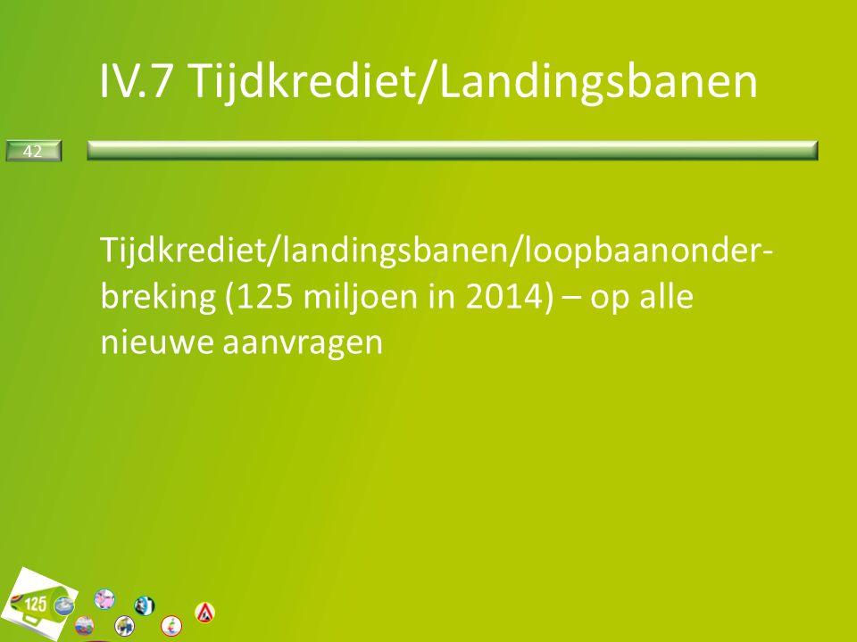 42 Tijdkrediet/landingsbanen/loopbaanonder- breking (125 miljoen in 2014) – op alle nieuwe aanvragen IV.7 Tijdkrediet/Landingsbanen