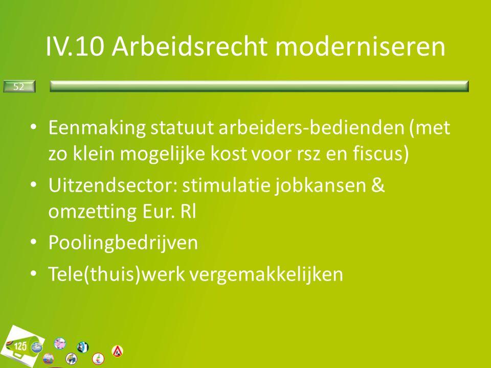 52 IV.10 Arbeidsrecht moderniseren Eenmaking statuut arbeiders-bedienden (met zo klein mogelijke kost voor rsz en fiscus) Uitzendsector: stimulatie jobkansen & omzetting Eur.