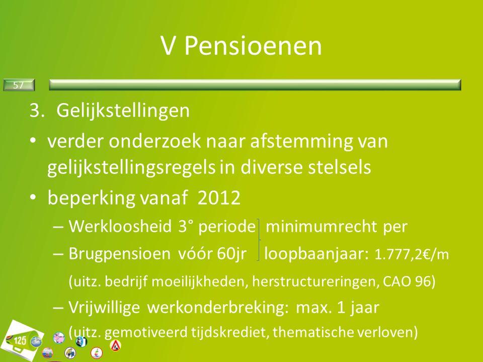 57 3.Gelijkstellingen verder onderzoek naar afstemming van gelijkstellingsregels in diverse stelsels beperking vanaf 2012 – Werkloosheid 3° periode minimumrecht per – Brugpensioen vóór 60jr loopbaanjaar: 1.777,2€/m (uitz.