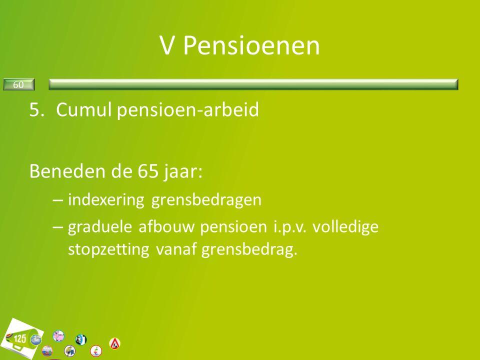 60 5.Cumul pensioen-arbeid Beneden de 65 jaar: – indexering grensbedragen – graduele afbouw pensioen i.p.v.