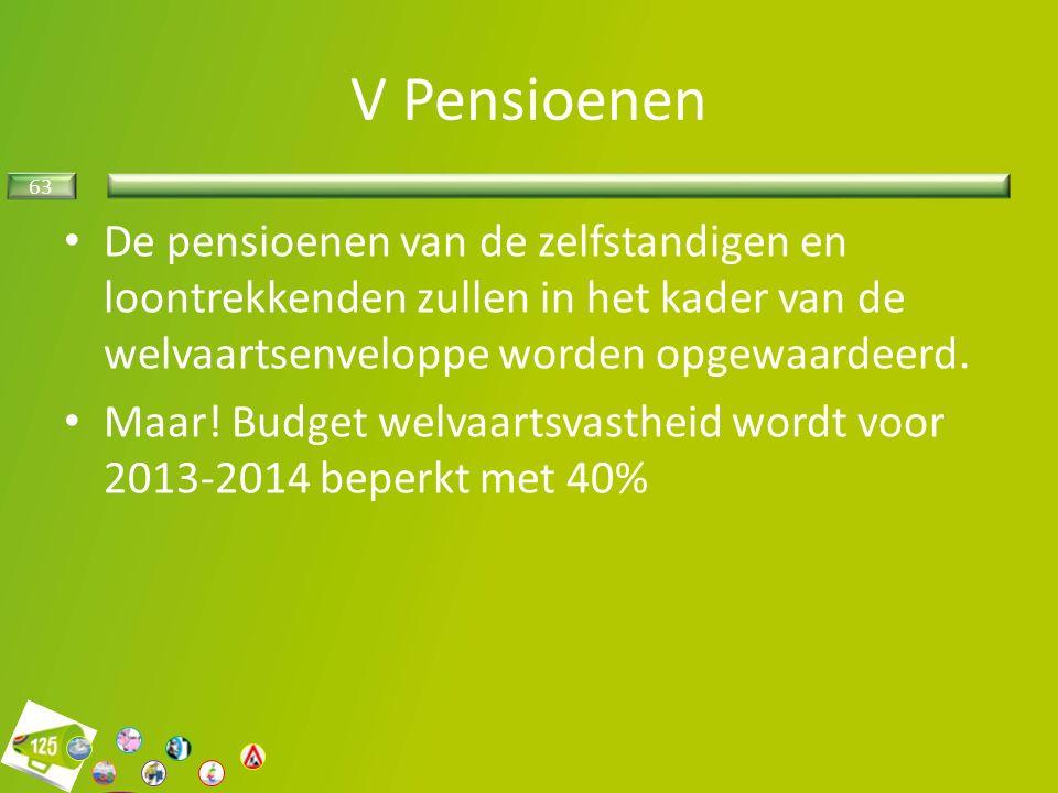 63 V Pensioenen De pensioenen van de zelfstandigen en loontrekkenden zullen in het kader van de welvaartsenveloppe worden opgewaardeerd.