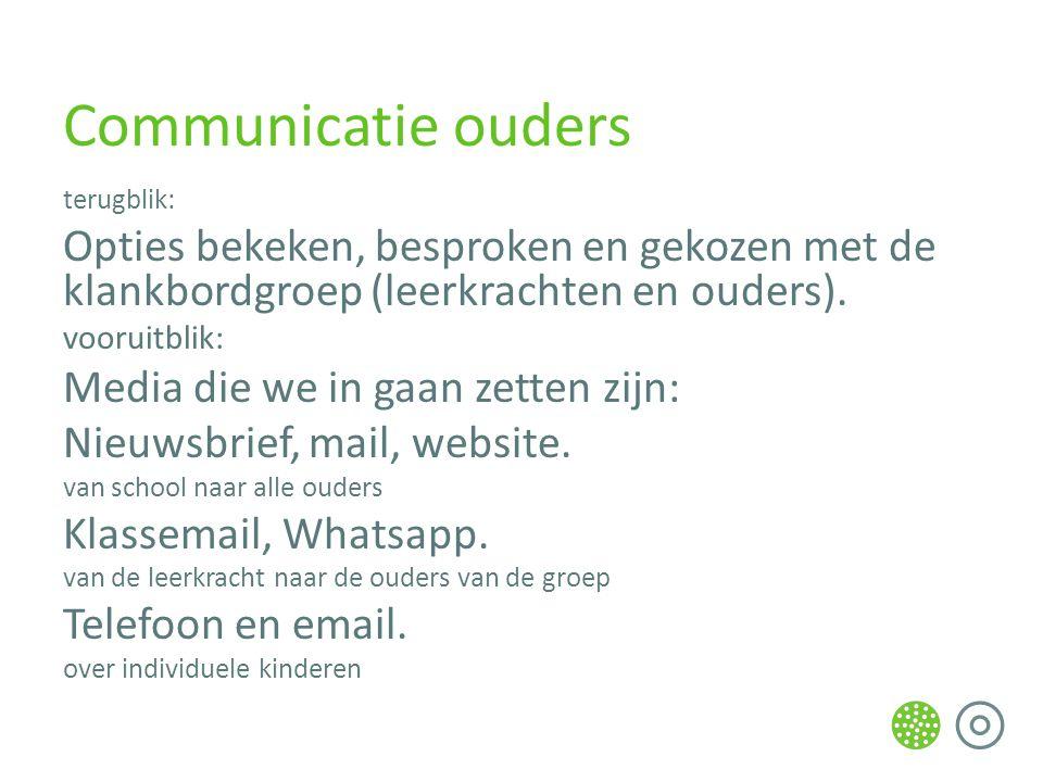 Communicatie ouders terugblik: Opties bekeken, besproken en gekozen met de klankbordgroep (leerkrachten en ouders).