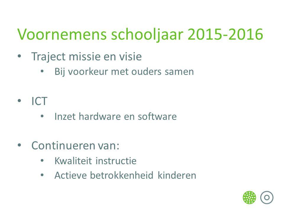 Voornemens schooljaar 2015-2016 Traject missie en visie Bij voorkeur met ouders samen ICT Inzet hardware en software Continueren van: Kwaliteit instructie Actieve betrokkenheid kinderen