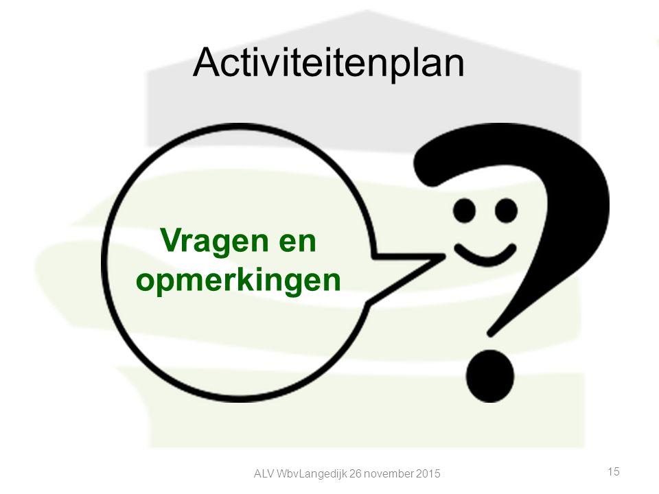 Activiteitenplan ALV WbvLangedijk 26 november 2015 15 Vragen en opmerkingen