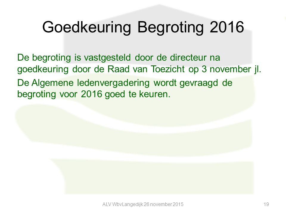 Goedkeuring Begroting 2016 De begroting is vastgesteld door de directeur na goedkeuring door de Raad van Toezicht op 3 november jl.